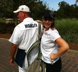 Elizabeth and her caddy at Sawgrass Tournament